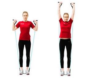 Dame i treningsklær gjennomfører skulderløft. Foto: Lasse Berre. på bildet: Anne Marie Ormbostad Berre